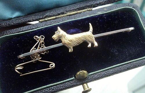 Vintage 15ct Gold , Platinum & Diamond Dog Brooch Scottish Terrier Scottie c1910