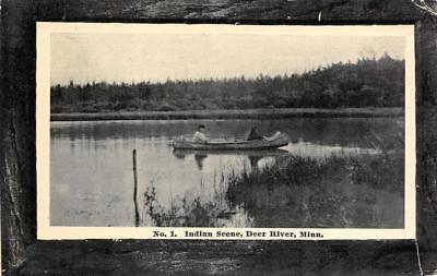 Indian Canoe Scene, Deer River, Minnesota ca 1910s Vintage Postcard