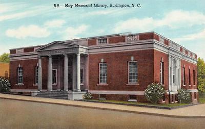 For sale BURLINGTON, NC North Carolina MAY MEMORIAL LIBRARY Alamance Co c1940's Postcard