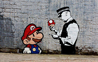 "Banksy, Super Mario, 8""x12"", Graffiti Art, Giclee Canvas Print"