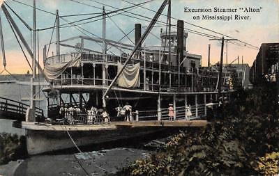 """EXCURSION STEAMER """"ALTON""""~Mississippi Riverboat  PADDLEWHEEL  c1910's Postcard"""