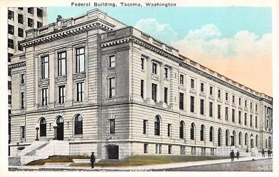 Tacoma  Wa Washington    Federal Building Men On Sidewalk    C1920s Postcard