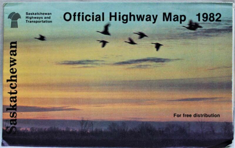 SASKATCHEWAN CANADA OFFICIAL HIGHWAY ROAD MAP 1982 VINTAGE TRAVEL