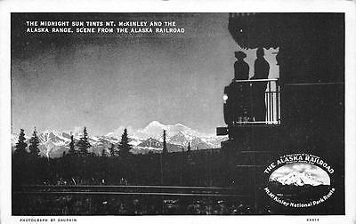 MT. McKINLEY ALASKA RANGE TRAIN RAILROAD ALASKA POSTCARD (c. 1940) ()