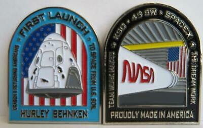 SPACE X FALCON 9 1ST CREW DEMO-2 MANNED MISSION COIN - HURLEY & BEHNKEN TO ISS