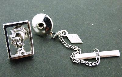 Vintage Aztec Warrior 3 D Tie Tack Silvertone By Sarah Coventry
