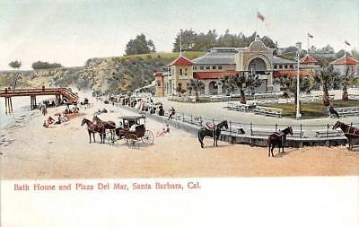 Bath House & Plaza Del Mar, Santa Barbara, California Pre-1907 Vintage Postcard