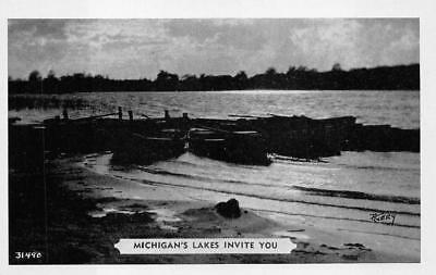For sale MICHIGAN LAKES INVITE YOU BOATING DEXTER PRESS POSTCARD (1940s)