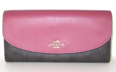 Coach Signature Slim Envelope Wallet Rouge Pink & Brown Signature F54022 NWT$250