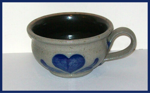 1993 Rowe Pottery Works Historical Collection Soup Cup Salt Glazed Heart