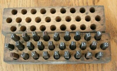 28 Pc. 316 Steel Letter Punch Set Metal Die Stamps A-z - Period W Wood Box