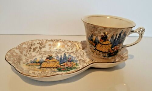 Rare James Kent Ltd. Crinoline Lady 3087 Cup and Biscuit Saucer Made In England