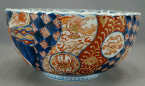 Mid 19th Century Japanese Hand Painted Red & Blue Imari Porcelain Bowl