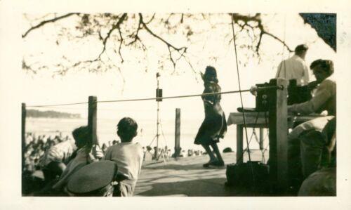 1940 Waikiki Beach scene  Hula Girl Show at beach Hawaii  Photo #2 guitar player