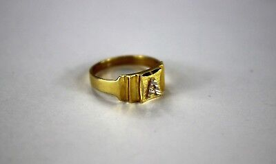 - 10K Real Yellow Gold Initial Ring for Baby Kids Boys Children