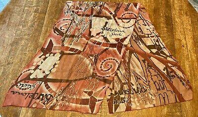 Vintage Scarf Styles -1920s to 1960s Vintage Scarf Barcelona Gaudi Designer Pink White $16.95 AT vintagedancer.com