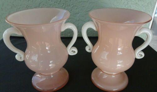 RARE Pair of BOHEMIAN Vintage KRALIK Glass  PINK TANGO HANDLED VASES *Marked