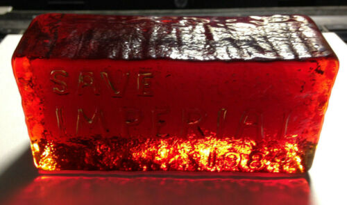 Imperial Red Glass Brick--SAVE IMPERIAL 1984--Free Ship