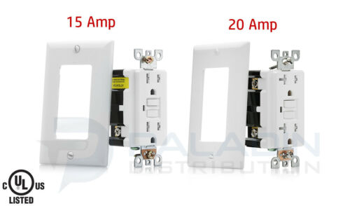15A / 20A GFCI Safety Outlet Receptacle Tamper & Weather Resistant - White UL