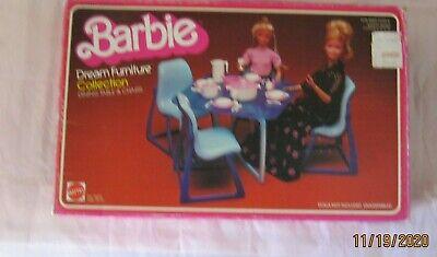 Vintage Barbie Dream House Blue Dining Room Table 4 Chairs NIB 1978