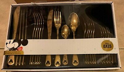 Disney Parks Mickey Mouse Silhouette 24pc GOLD Silverware Flatware Set NEW inBox