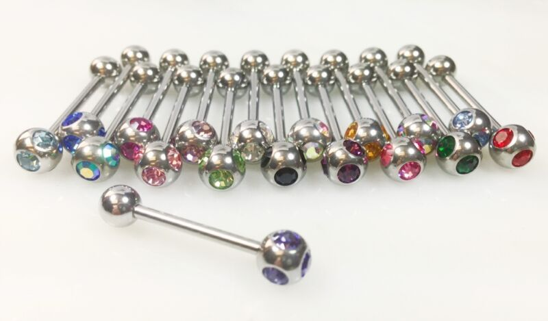 T#47 - 18pc Multigem Tongue Rings 14g 14 gauge Tounge Barbells