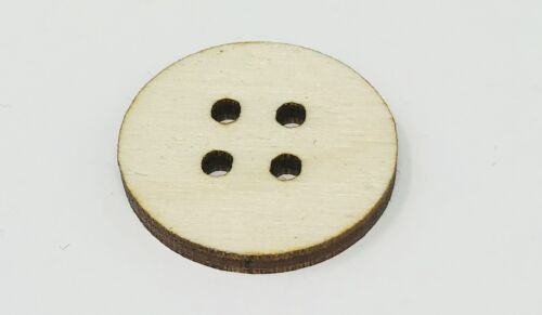 """(10 pack) 1"""" Unfinished Wooden Button w/ 4 holes (stainable, paintable, & more)"""