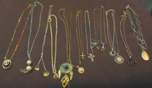 Lot of 14 PENDANT Vintage Modern Jewelry NECKLACES Lily TIGER-EYE Eiffel Tower &