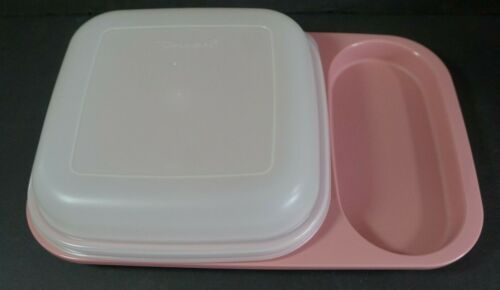 Tupperware Dusty Rose Pink Meal Mate Divided Sealed Tray 1837 New Old Stock
