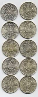 COINS: SILVER FIFTY CENT PIECES 1966 (10)