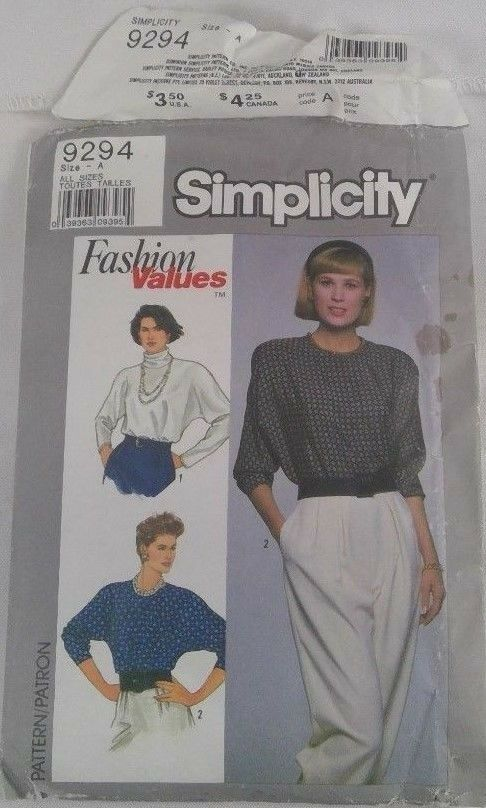 Simplicity Pattern 9294 Misses/Petite Pullover Top Size A All Sizes Cut 1989 - $5.00