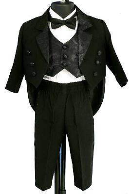 NEW FORMAL BOY 5 PCS Black PAISLEY TAIL TUXEDO Sz 2T/3T/4T/5/6/7 Wedding/Recital ()