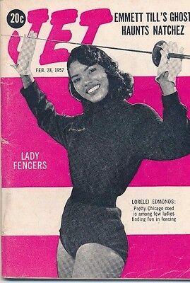 2/28/1957 JET MAGAZINE Emmett Till ghost haunts Natchez Lorelei Edmonds fencing