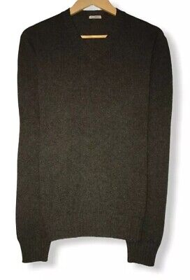 Malo Men's Size 50 Dark Gray V-Neck Cashmere/Wool Knit Sweater Made in Italy euc