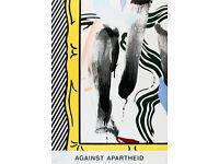 ROY LICHTENSTEIN - 'Against apartheid' - original exhibition poster - c1983 (Edition of 2,000)