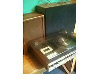 Vintage retro SANYO vinyl record player and speakers