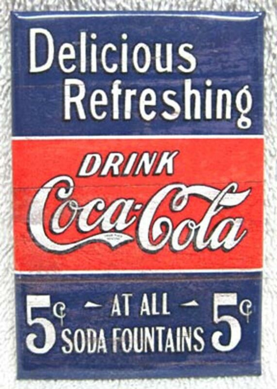 DELICIOUS REFRESHING DRINK COCA-COLA BLUE & RED METAL MAGNET, NEW!
