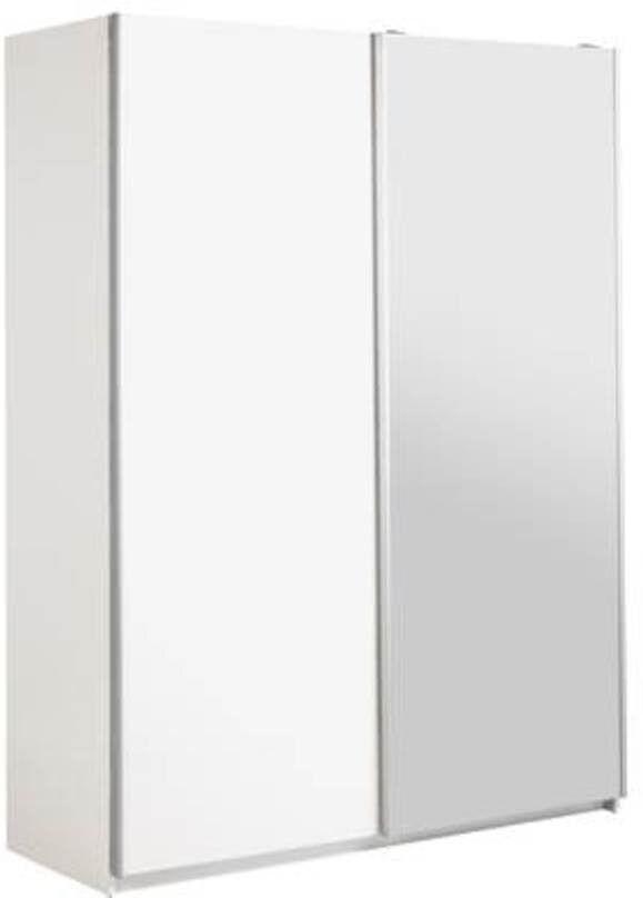 Hygena Bergen 2 Door Sliding Wardrobe -White Gloss & Mirror