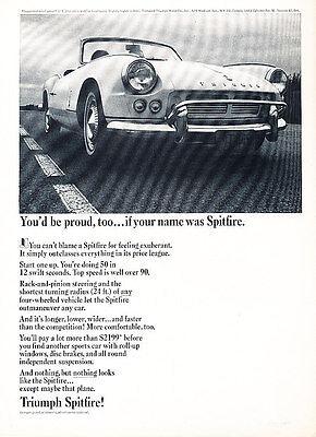 1964 Triumph Spitfire - Proud - Classic Vintage Advertisement Ad D199