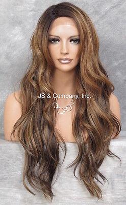 Heat OK Human Hair Blend Mono Top LACE FRONT WIG Brown Auburn Blonde AUR SOM7002