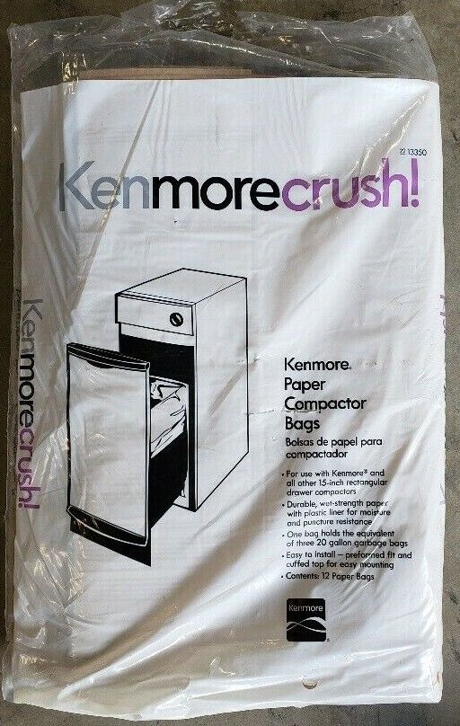 Kenmore Paper Trash Compactor Bags 12 Count for 15-inch rect