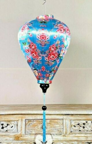 BLUE SUMMER LANTERN,Traditional Silk Hanging Lanterns, Asian Deck Garden Lantern