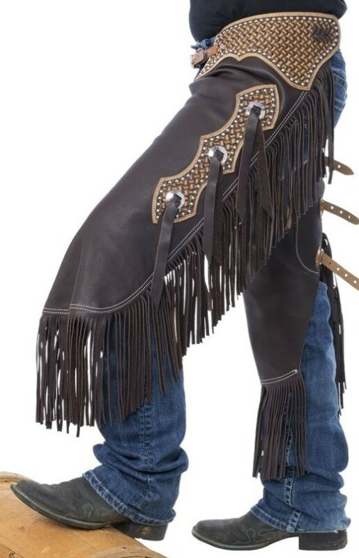 Western Chinks Chaps - Spider Tooled Yoke Smooth Brown Leather - S,M,L