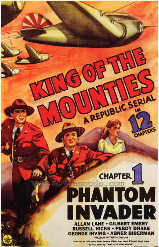 KING OF THE MOUNTIES Movie POSTER 27x40 Allan Lane Gilbert Emery Russell Hicks