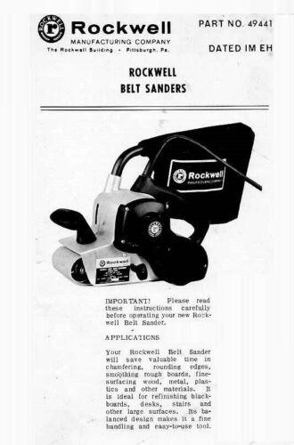 Rockwell Belt Sanders Model #337 Instruction Manual