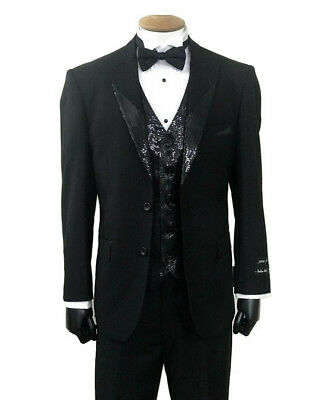 Men's Black Tuxedo Suit 2 Button Peak Lapel w/ Sequins Jacket, Vest & Pants Set