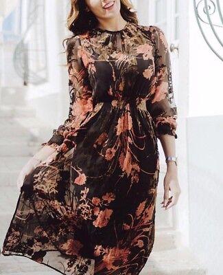 ZARA FLOWING FLORAL PRINTED LONG DRESS MAXIKLEID KLEID BLUMENPRINT DEVORE SAMT Floral Print Maxi-kleid