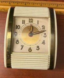 Vintage WESTCLOX Roll Top Travel Alarm Clock Cream Gold Metal Works