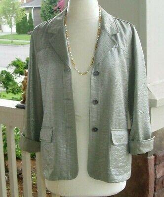 Chico's 1 / 8 Medium Weight Crinkle Look Shiny Green Casual Blazer Jacket