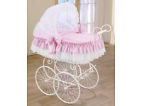 CAN POST or DELIVER LOCALLY - One of a Kind Girls Pink Wicker Very Large Moses Basket Pram Leipold